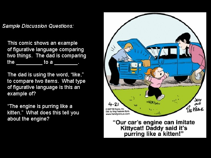 Sample Discussion Questions: This comic shows an example of figurative language comparing two things.
