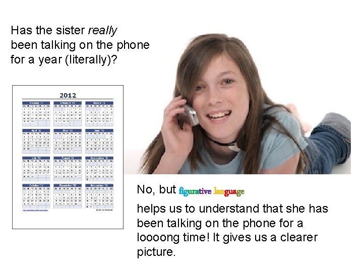 Has the sister really been talking on the phone for a year (literally)? No,