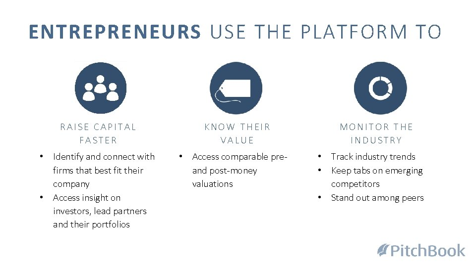 ENTREPRENEURS USE THE PLATFORM TO RAISE CAPITAL FASTER • Identify and connect with firms