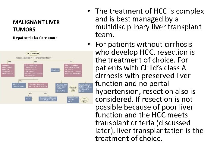 MALIGNANT LIVER TUMORS Hepatocellular Carcinoma • The treatment of HCC is complex and is