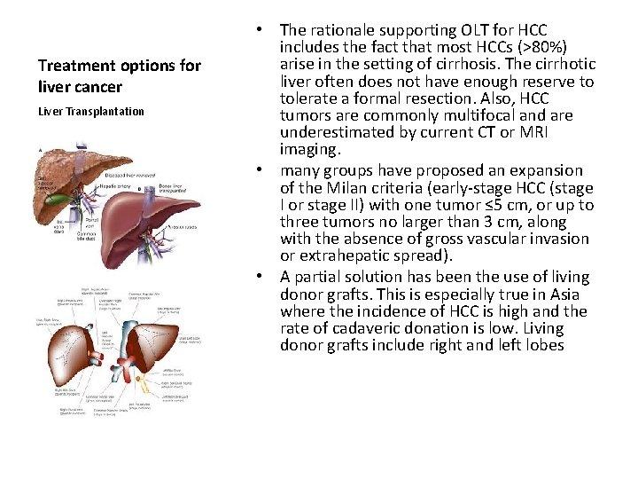Treatment options for liver cancer Liver Transplantation • The rationale supporting OLT for HCC