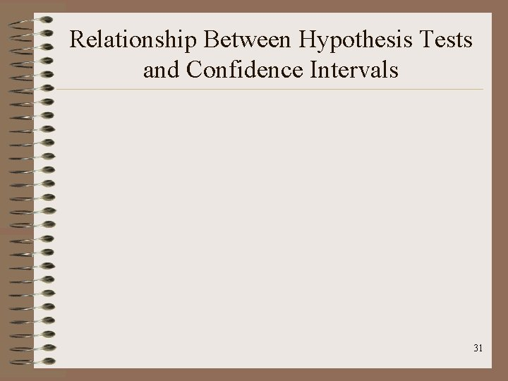 Relationship Between Hypothesis Tests and Confidence Intervals 31