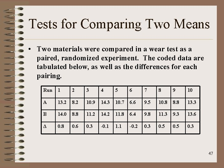 Tests for Comparing Two Means • Two materials were compared in a wear test