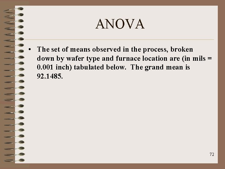 ANOVA • The set of means observed in the process, broken down by wafer