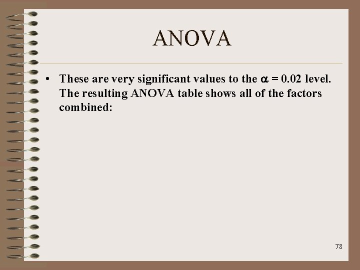ANOVA • These are very significant values to the = 0. 02 level. The