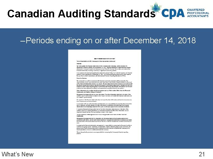 Canadian Auditing Standards – Periods ending on or after December 14, 2018 What's New