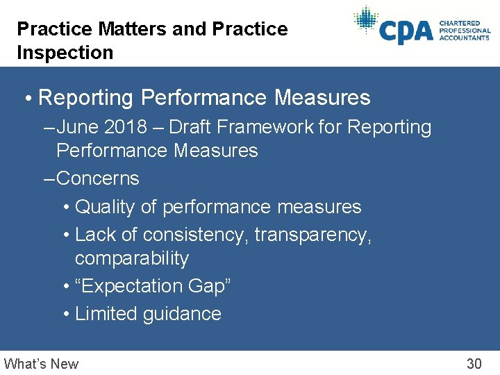 Practice Matters and Practice Inspection • Reporting Performance Measures – June 2018 – Draft