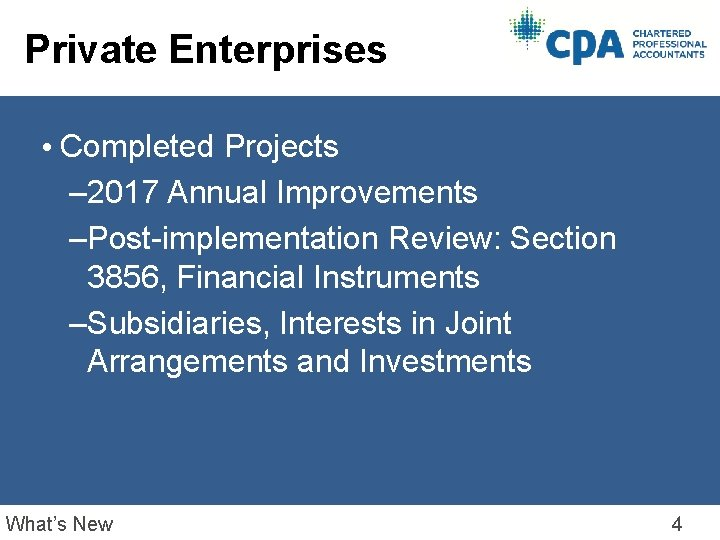 Private Enterprises • Completed Projects – 2017 Annual Improvements –Post-implementation Review: Section 3856, Financial