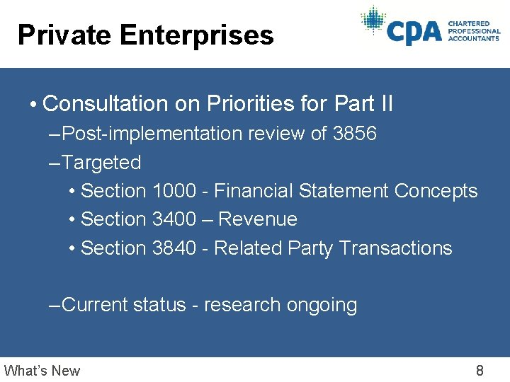 Private Enterprises • Consultation on Priorities for Part II – Post-implementation review of 3856