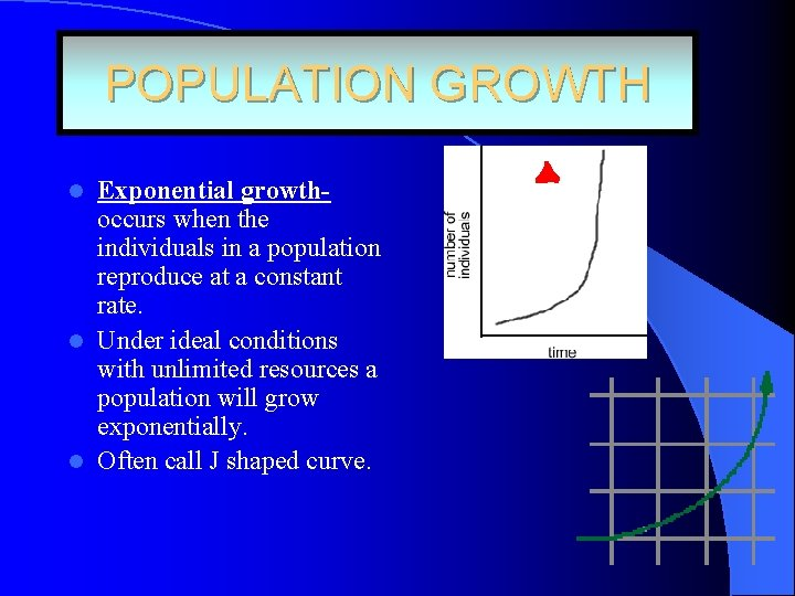 POPULATION GROWTH Exponential growthoccurs when the individuals in a population reproduce at a constant