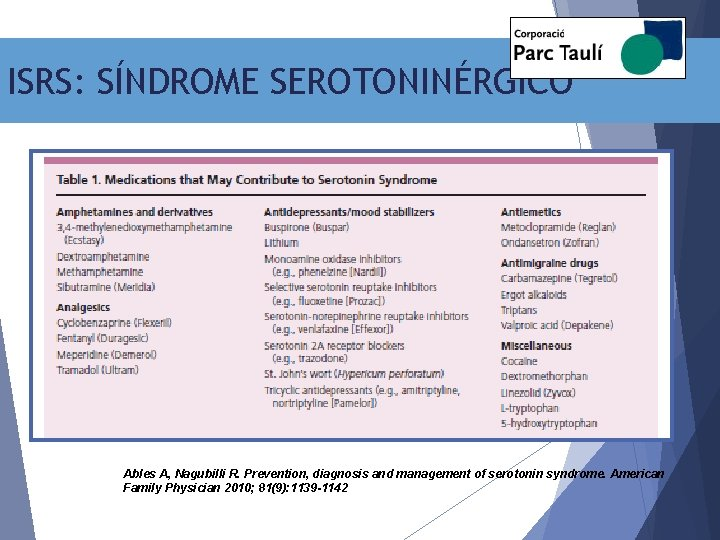 ISRS: SÍNDROME SEROTONINÉRGICO Ables A, Nagubilli R. Prevention, diagnosis and management of serotonin syndrome.