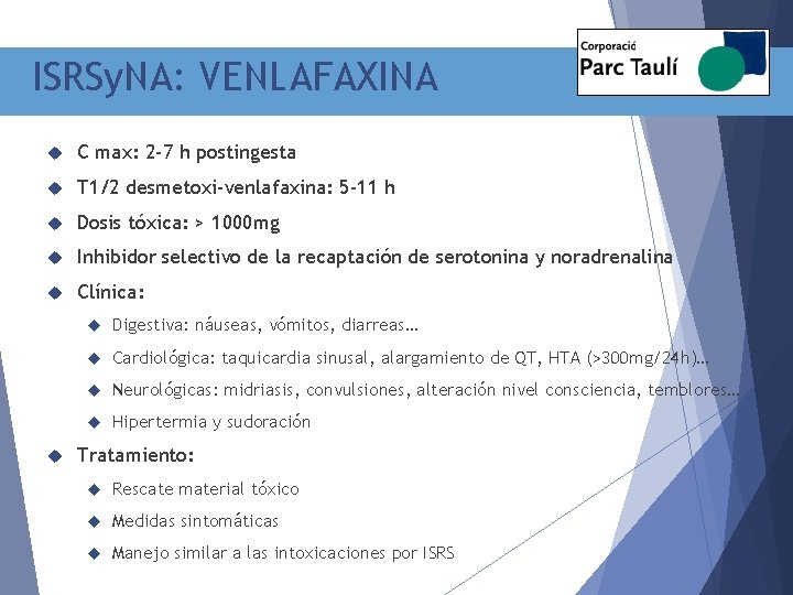 ISRSy. NA: VENLAFAXINA C max: 2 -7 h postingesta T 1/2 desmetoxi-venlafaxina: 5 -11