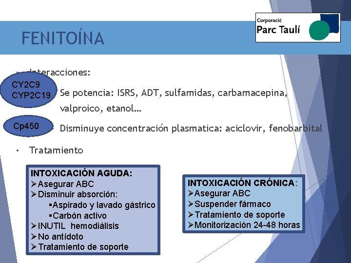 FENITOÍNA • Interacciones: CY 2 C 9 CYP 2 C 19 • Se potencia: