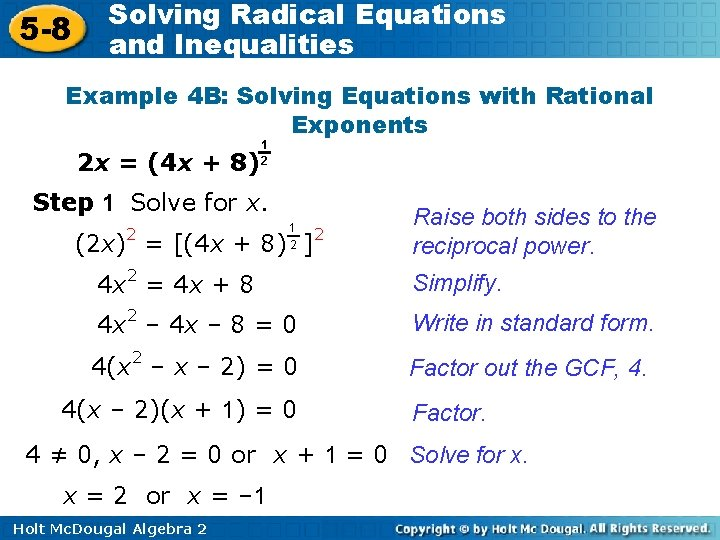 5 -8 Solving Radical Equations and Inequalities Example 4 B: Solving Equations with Rational