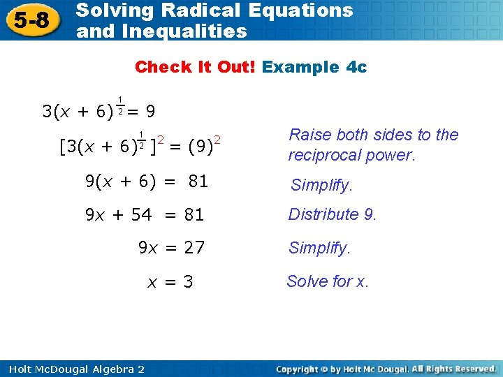 5 -8 Solving Radical Equations and Inequalities Check It Out! Example 4 c 1