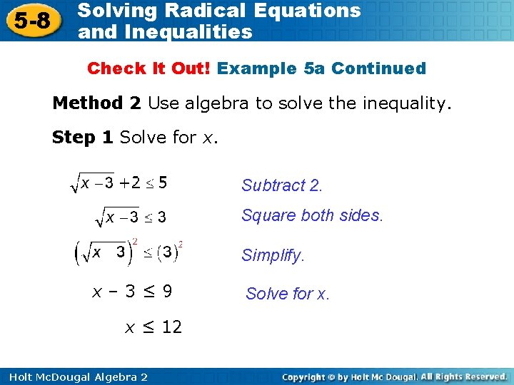 5 -8 Solving Radical Equations and Inequalities Check It Out! Example 5 a Continued
