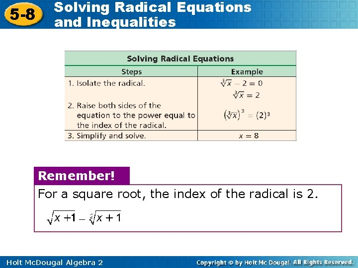 5 -8 Solving Radical Equations and Inequalities Remember! For a square root, the index