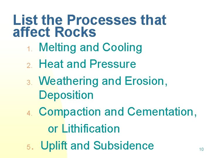 List the Processes that affect Rocks Melting and Cooling 2. Heat and Pressure 3.