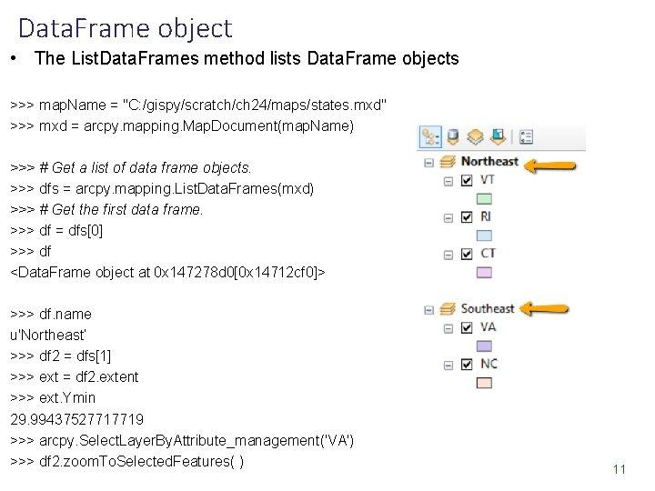 Data. Frame object • The List. Data. Frames method lists Data. Frame objects >>>