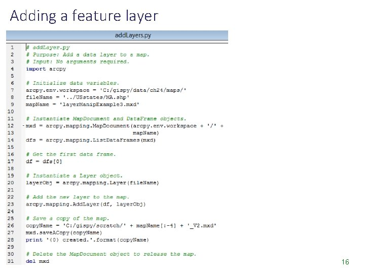 Adding a feature layer 16
