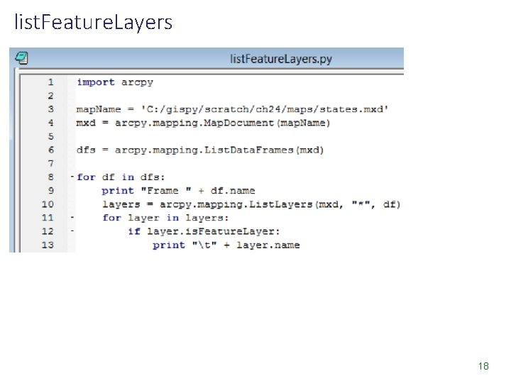 list. Feature. Layers 18