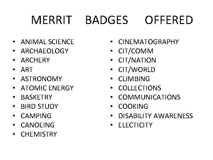 MERRIT BADGES • • • ANIMAL SCIENCE ARCHAEOLOGY ARCHERY ART ASTRONOMY ATOMIC ENERGY BASKETRY
