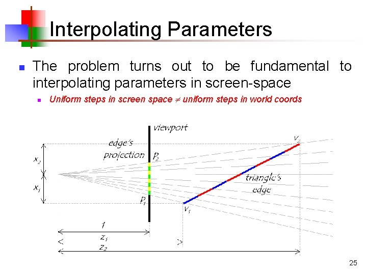 Interpolating Parameters n The problem turns out to be fundamental to interpolating parameters in