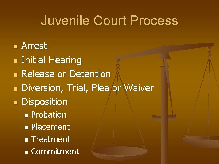 Juvenile Court Process n n n Arrest Initial Hearing Release or Detention Diversion, Trial,