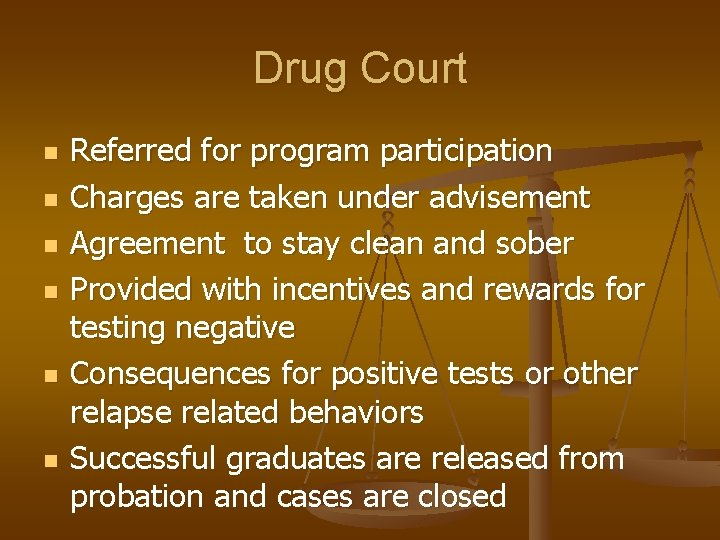 Drug Court n n n Referred for program participation Charges are taken under advisement