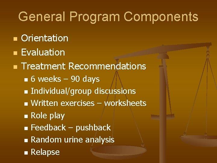 General Program Components n n n Orientation Evaluation Treatment Recommendations 6 weeks – 90