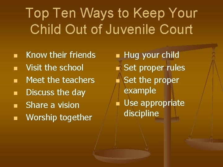 Top Ten Ways to Keep Your Child Out of Juvenile Court n n n