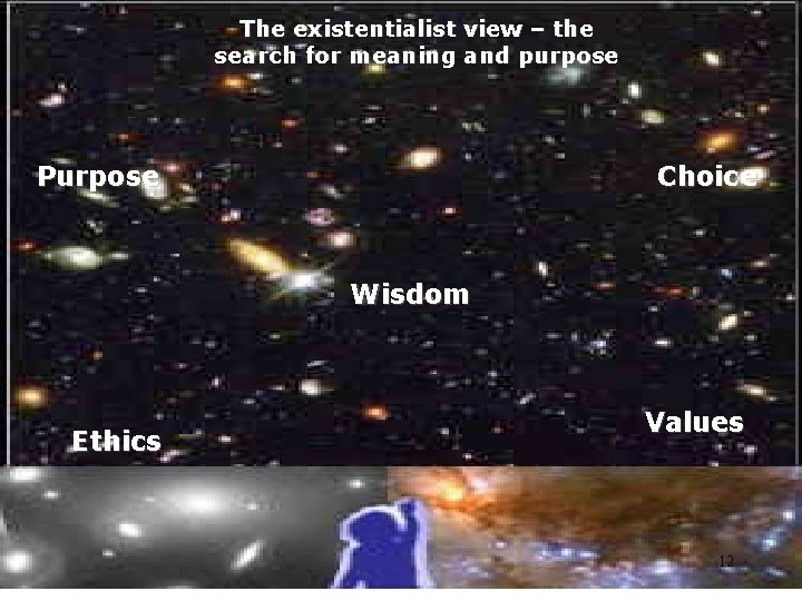 The existentialist view – the search for meaning and purpose Purpose Choice Wisdom Ethics