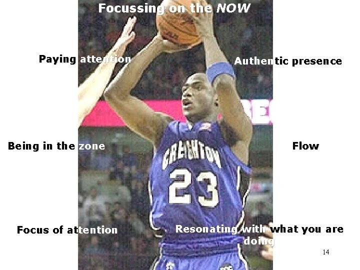 Focussing on the NOW Paying attention Being in the zone Focus of attention Authentic