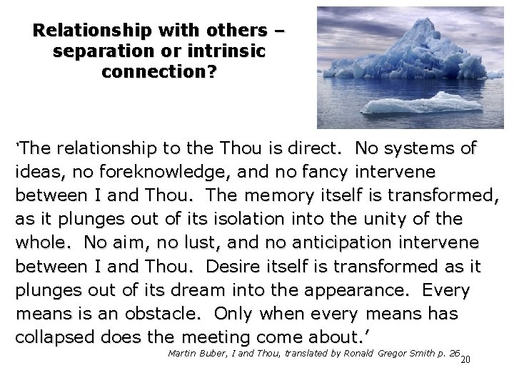 Relationship with others – separation or intrinsic connection? 'The relationship to the Thou is