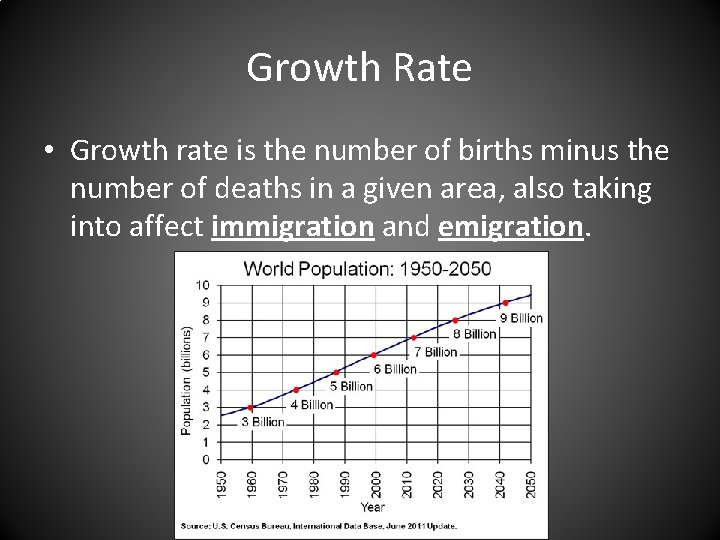 Growth Rate • Growth rate is the number of births minus the number of
