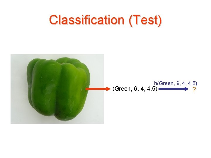 Classification (Test) h(Green, 6, 4, 4. 5) ?