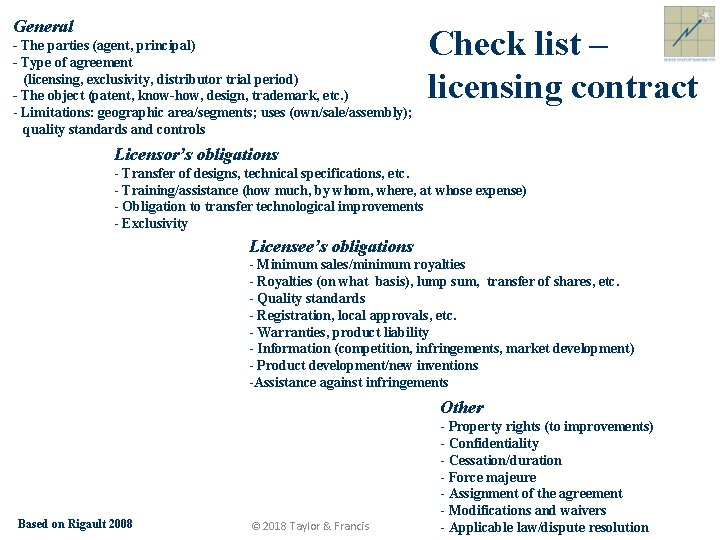 General - The parties (agent, principal) - Type of agreement (licensing, exclusivity, distributor trial