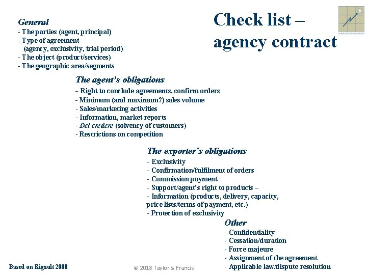 Check list – agency contract General - The parties (agent, principal) - Type of