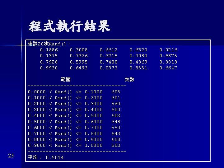 程式執行結果 連試 20次Rand(): 0. 1886 0. 3008 0. 1375 0. 7226 0. 7928 0.