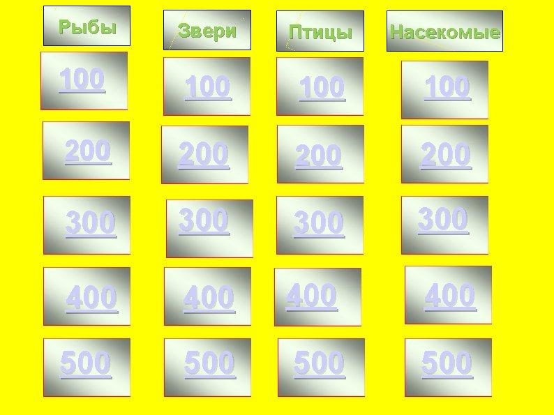 Рыбы Звери Птицы Насекомые 100 100 200 200 300 300 400 400 500 500