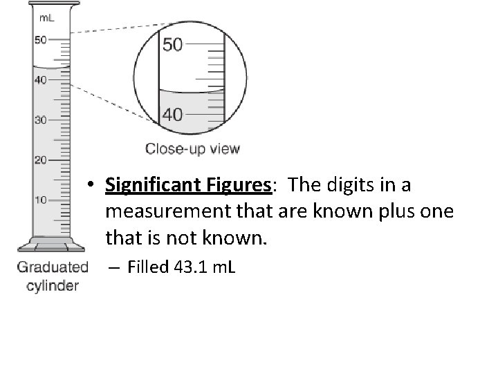 • Significant Figures: The digits in a measurement that are known plus one