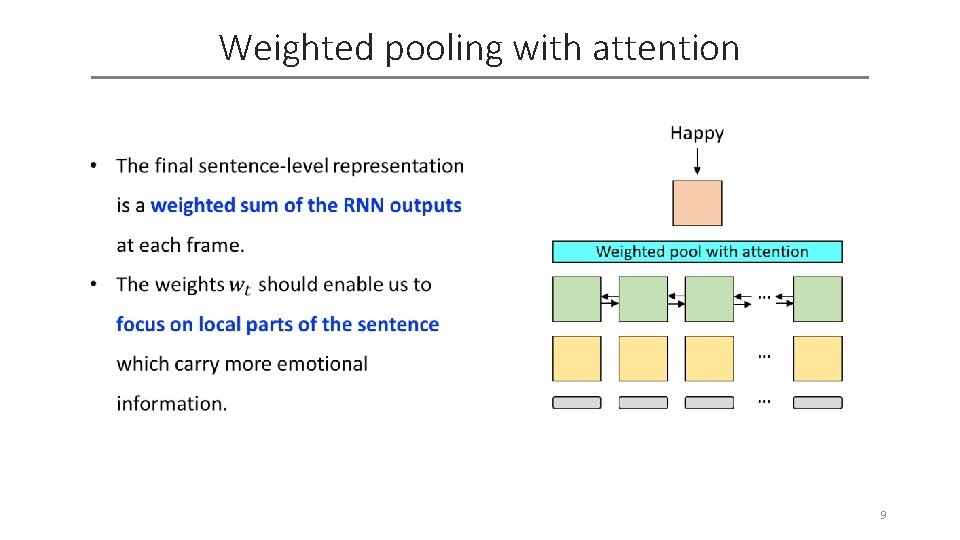 Weighted pooling with attention 9