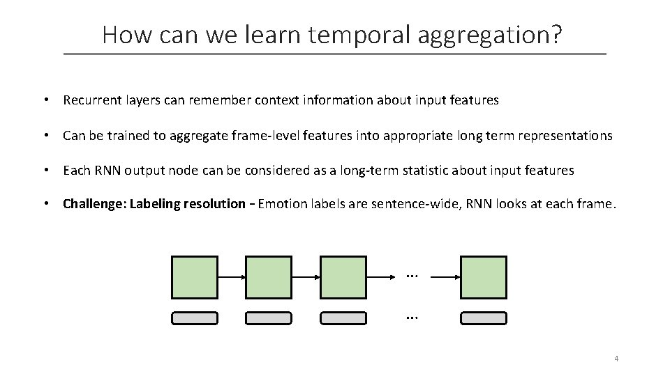 How can we learn temporal aggregation? • Recurrent layers can remember context information about