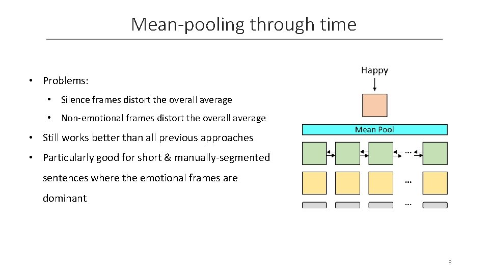Mean-pooling through time • Problems: • Silence frames distort the overall average • Non-emotional