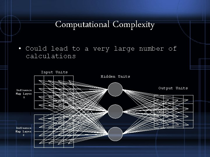 Computational Complexity • Could lead to a very large number of calculations Input Units