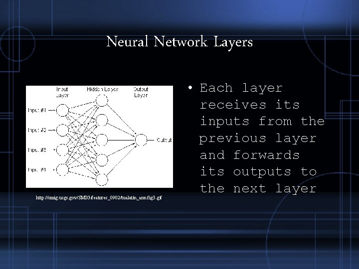 Neural Network Layers http: //smig. usgs. gov/SMIG/features_0902/tualatin_ann. fig 3. gif • Each layer receives