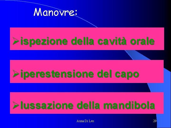 Manovre: Øispezione della cavità orale Øiperestensione del capo Ølussazione della mandibola Anna Di Leo