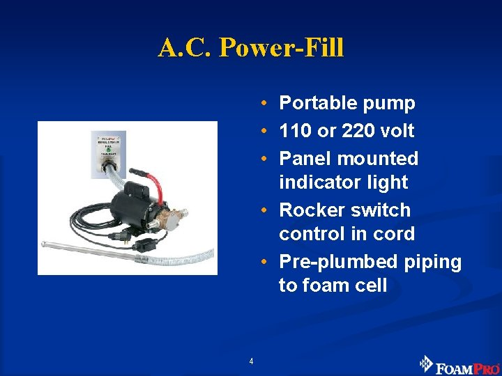 A. C. Power-Fill • Portable pump • 110 or 220 volt • Panel mounted