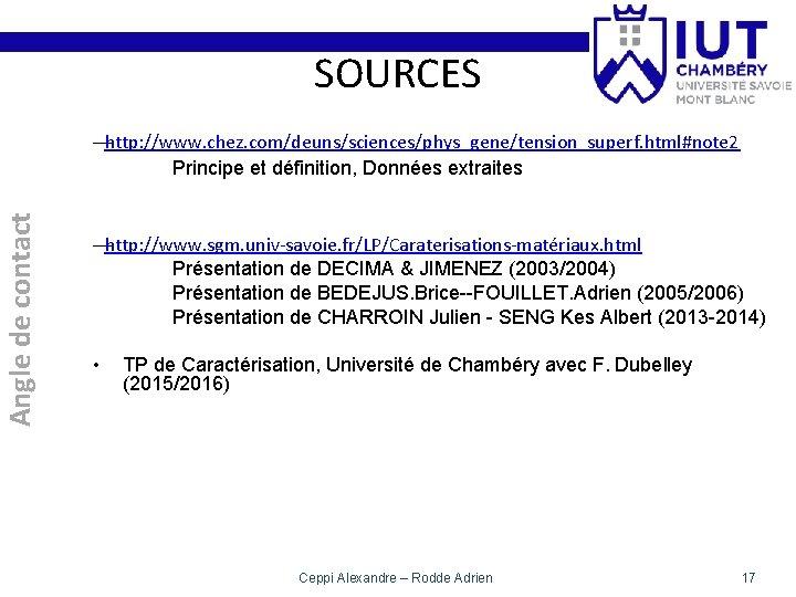 SOURCES Angle de contact —http: //www. chez. com/deuns/sciences/phys_gene/tension_superf. html#note 2 Principe et définition, Données