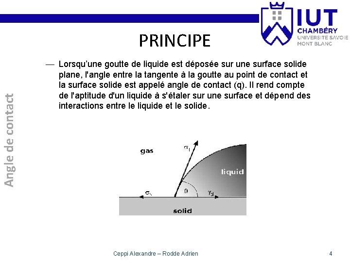 Angle de contact PRINCIPE — Lorsqu'une goutte de liquide est déposée sur une surface